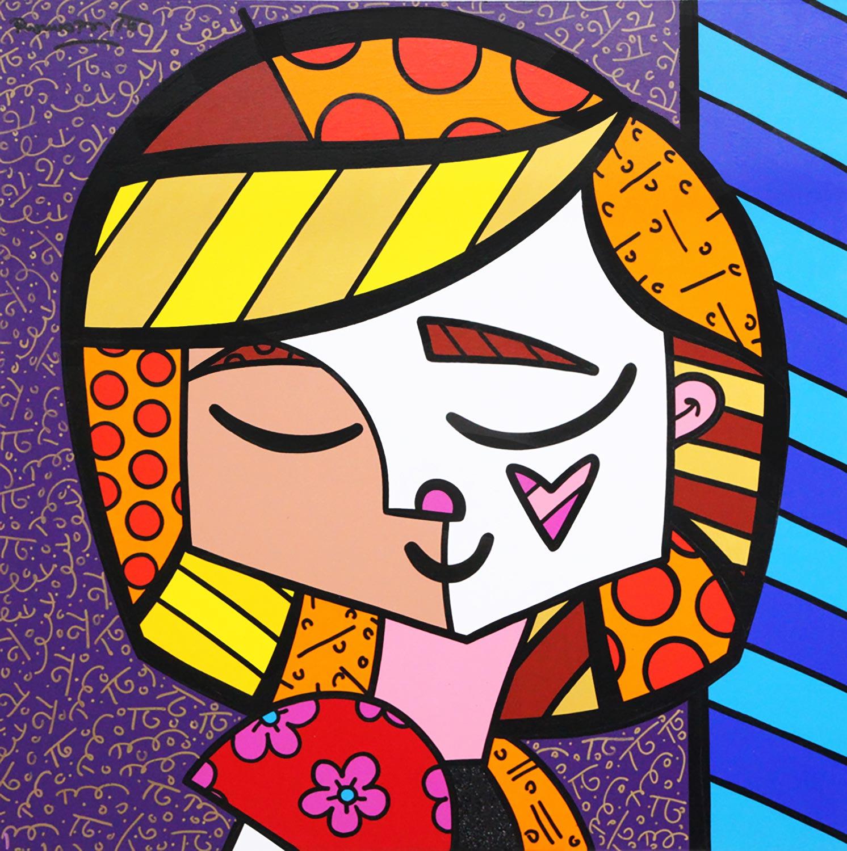 romero britto artwork girl heart flower shapes